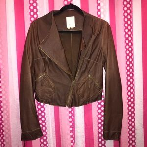Anthropology Elevenses brown leather jacket